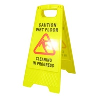 Yellow Safety A Frame Sign Caution Wet Floor & Cleaning in Progress