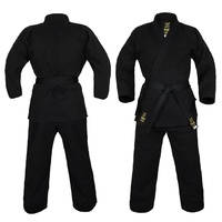 YAMASAKI GOLD DELUXE BRUSHED CANVAS KARATE UNIFORM (BLACK) - 14OZ