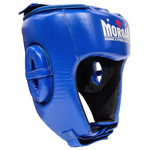 Morgan Platinum Open Face Leather  Head Guard [Medium Blue]